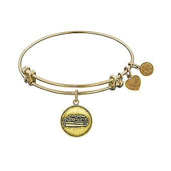 "Smooth Finish Brass Noah's Ark Angelica Bangle Bracelet, 7.25"""