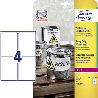 Avery-Zweckform L4774-20 Labels 99.1 x 139 mm Polyester film White 80 pc(s) Permanent All-purpose labels, Weatherproof labels