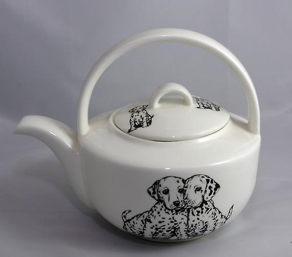 Английский костяного фарфора Teapot далматинец