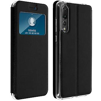 Window flip case, flip wallet case with stand for Huawei P20 Pro – Black