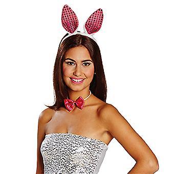 Bunny instellen sequin roze wit 2 stuks hoofdband strikje dames carnaval