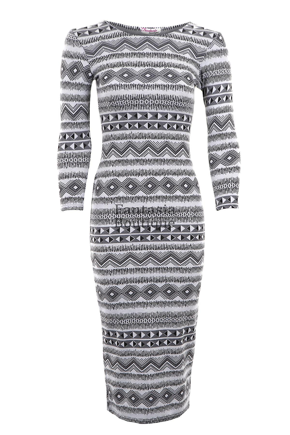 Uusi naisten Pitkähihaiset Jacquard Aztec Leaf tulosta naisten Maxi mekko