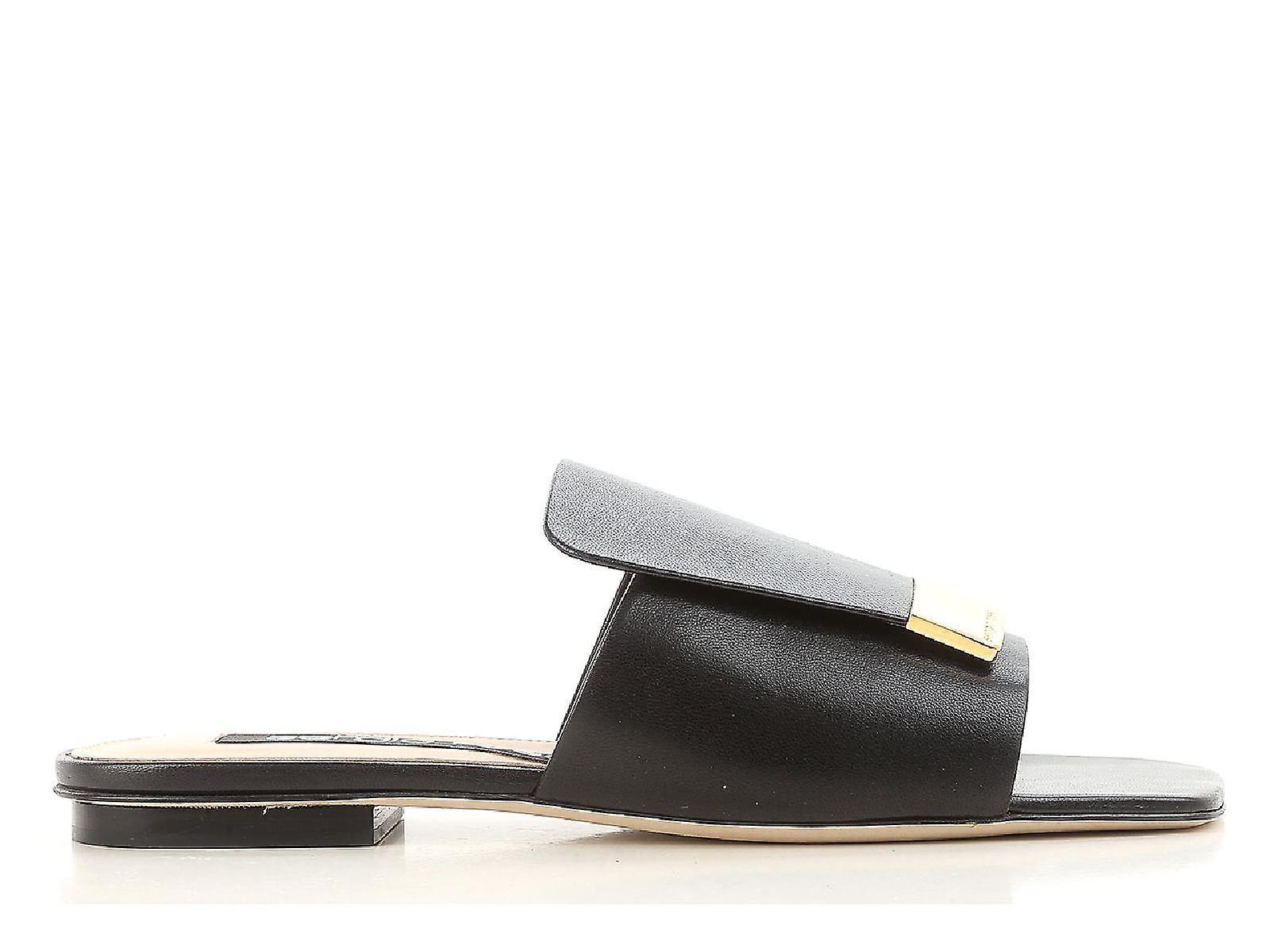 Sergio Rossi appartements slide sandales en cuir noir
