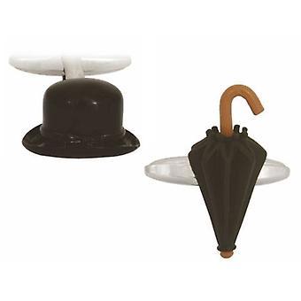 Zennor hattu ja sateenvarjo kalvosinnapit - musta/hopea