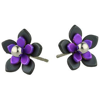 Ti2 Titanium Black takaisin viiden terälehti kukka korvakorut - Imperial violetti