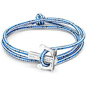 Anchor and Crew Union Silver and Rope Bracelet - Blue Dash