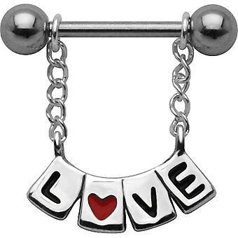 """Nänni Shield Baari lävistyksiä, elin koruja, 925 Sterling Silver, """"LOVE"""""""