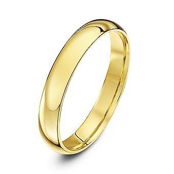 Star Wedding Rings 9ct Yellow Gold Light Court Shape 3mm Wedding Ring