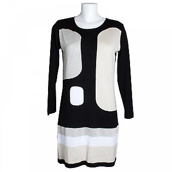Latte Long Sleeve Contrast Panel Knitted Dress