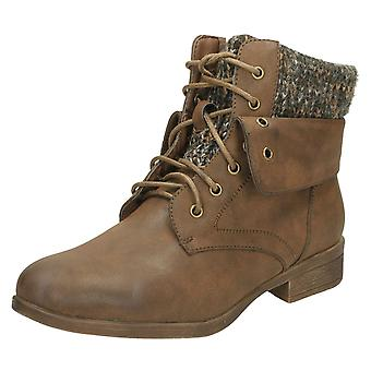 Ladies Spot On Mid Heel Lace Up Ankle Boots F50613