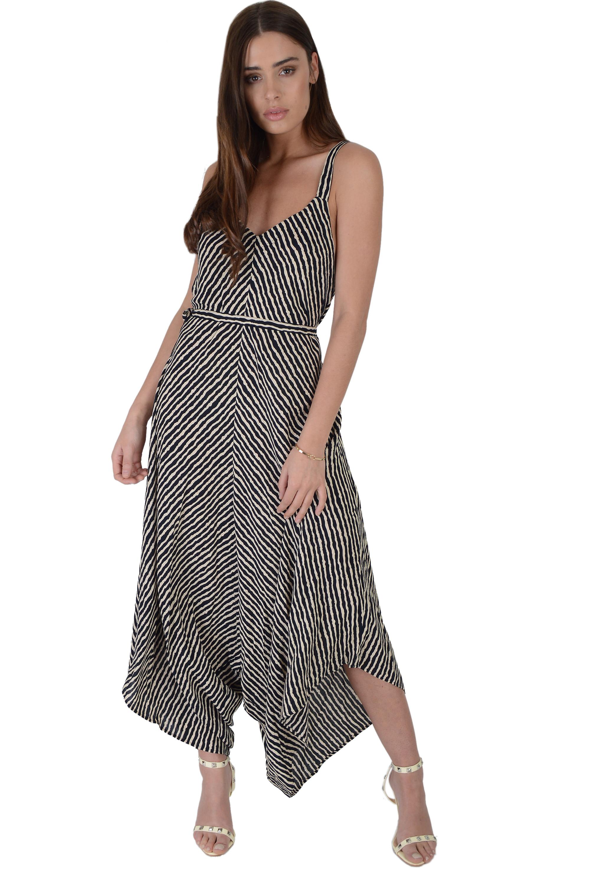 LMS Striped Jumpsuit Wih Cami Straps And Asymmetric Wide Leg