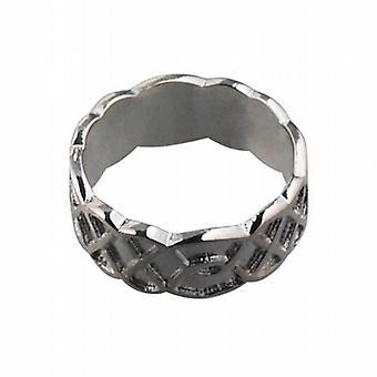 9 قيراط الذهب الأبيض 8 مم سلتيك خاتم الزواج حجم Q