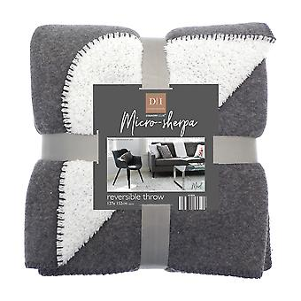 Country Club Micro-Sherpa Reversible Throw, Dark Grey