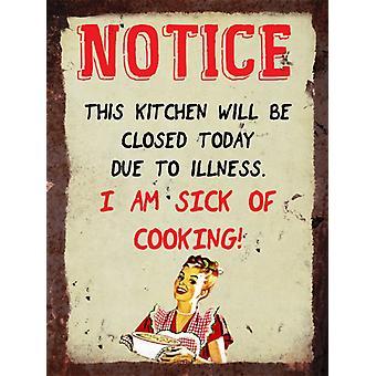 Vintage métal malades de signe - avis de cuisine, mur de cuisine