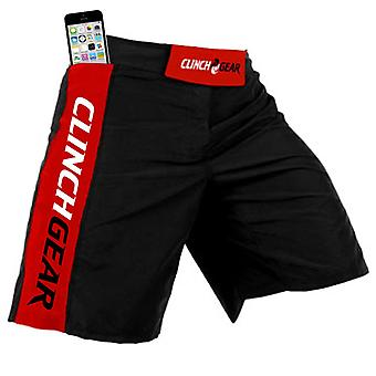 Clinch Gear Mens Crossover 3 Core MMA BJJ Shorts - Black/Red/White