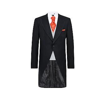 Dobell Mens Black Herringbone 2 Piece Morning Suit Regular Fit Striped Trousers