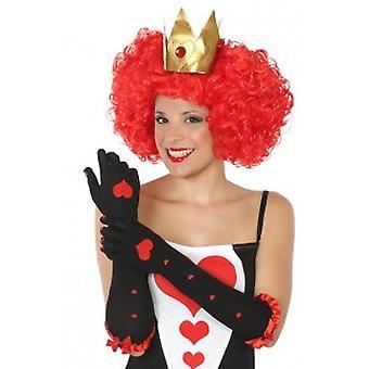 Handschoenen lange handschoenen zwart met harten