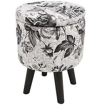 Čierna ruža-súčasná okrúhla Vatovaná Úložná stolička-čierna/biela