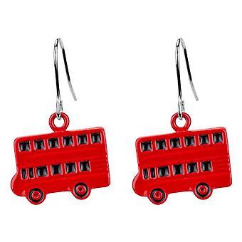 London Double Decker Bus Red Enamel Drop Earrings
