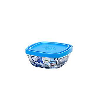 Duralex Freshbox firkantet bolle med blå lokk, 11cm