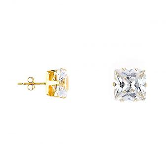 Eternity 9ct Gold 8mm Square Cubic Zirconia Stud Earrings