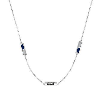 Rice University Sterling Silver Engraved Triple Station Necklace In Blue and Grey