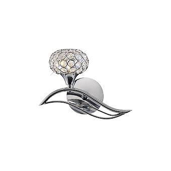 Diyas Leimo Wall Lamp Switched 1 Light Left Polished Chrome/Crystal