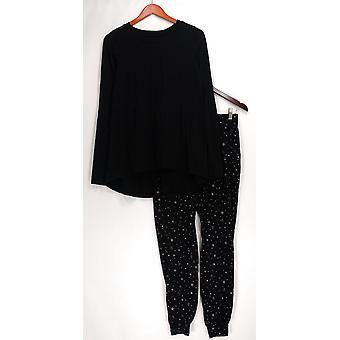 AnyBody Pajama Sets Loungewear Cozy Knit Novelty Print Black A296084