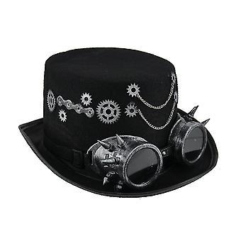 Steampunk Top Hat con attrezzi metallici argento & occhiali