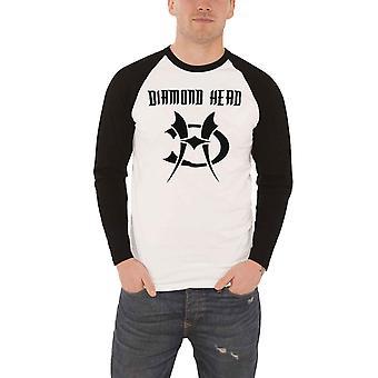 Diamond Head T Shirt Band Logo new Official Mens White Long Sleeve Baseball