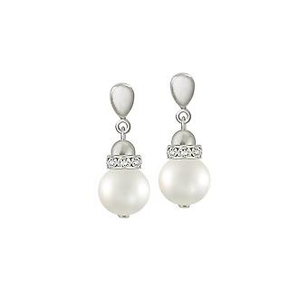 Eternal Collection Lustro White Shell Pearl Silver Tone Drop Screw Back Clip On Earrings