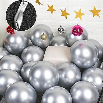 10x Glossy pearl inflatable chrome balloons metallic silver