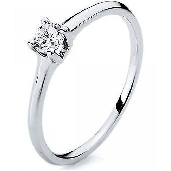 Diamantring ring-14K 585 hvidguld-0,23 CT.