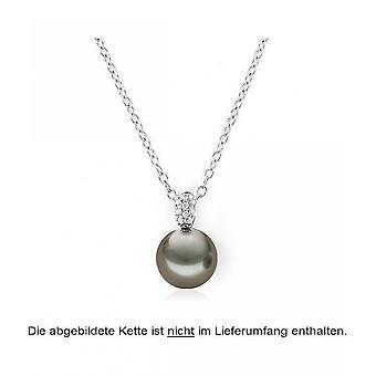 Luna-parels parel hanger Tahitiperle 10-10.5 mm 750/-wit goud 10 brilliants 0,06 CT. 3001222