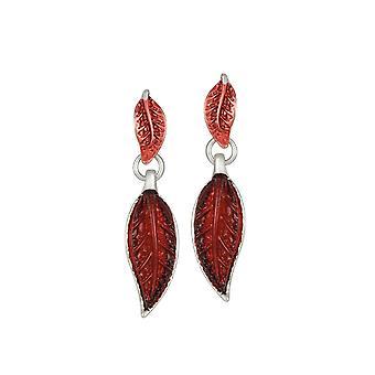 Eternal Collection Willow Red Enamel Silver Tone Drop Pierced Earrings
