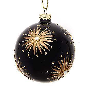 Single 8cm Premium glas fyrværkeri juletræ Bauble ornament