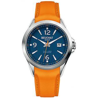 Watch Beuchat BEU0100-92 - dater Orange money Orange man dial steel case leather strap