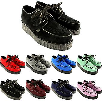Womens Underground Wulfrun Creepers Lace Up Goth Retro Shoes Suede