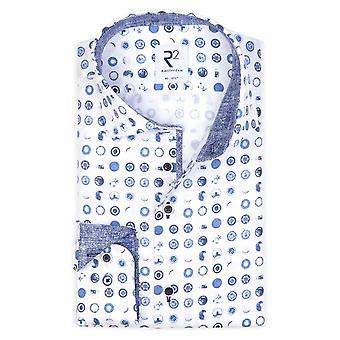 R2 Hidden Button Down Collar Shirt White Blue/pattern