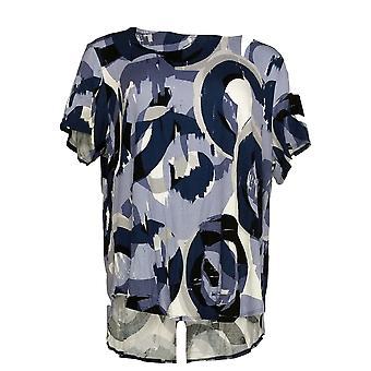 Alfani Women-apos;s Plus Top Knit Arches Print Tee Blue / Blanc
