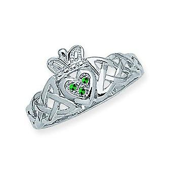 14k White Gold Braided Claddagh Ring With Simulated Stone Size 7 Jewelry Gifts for Women