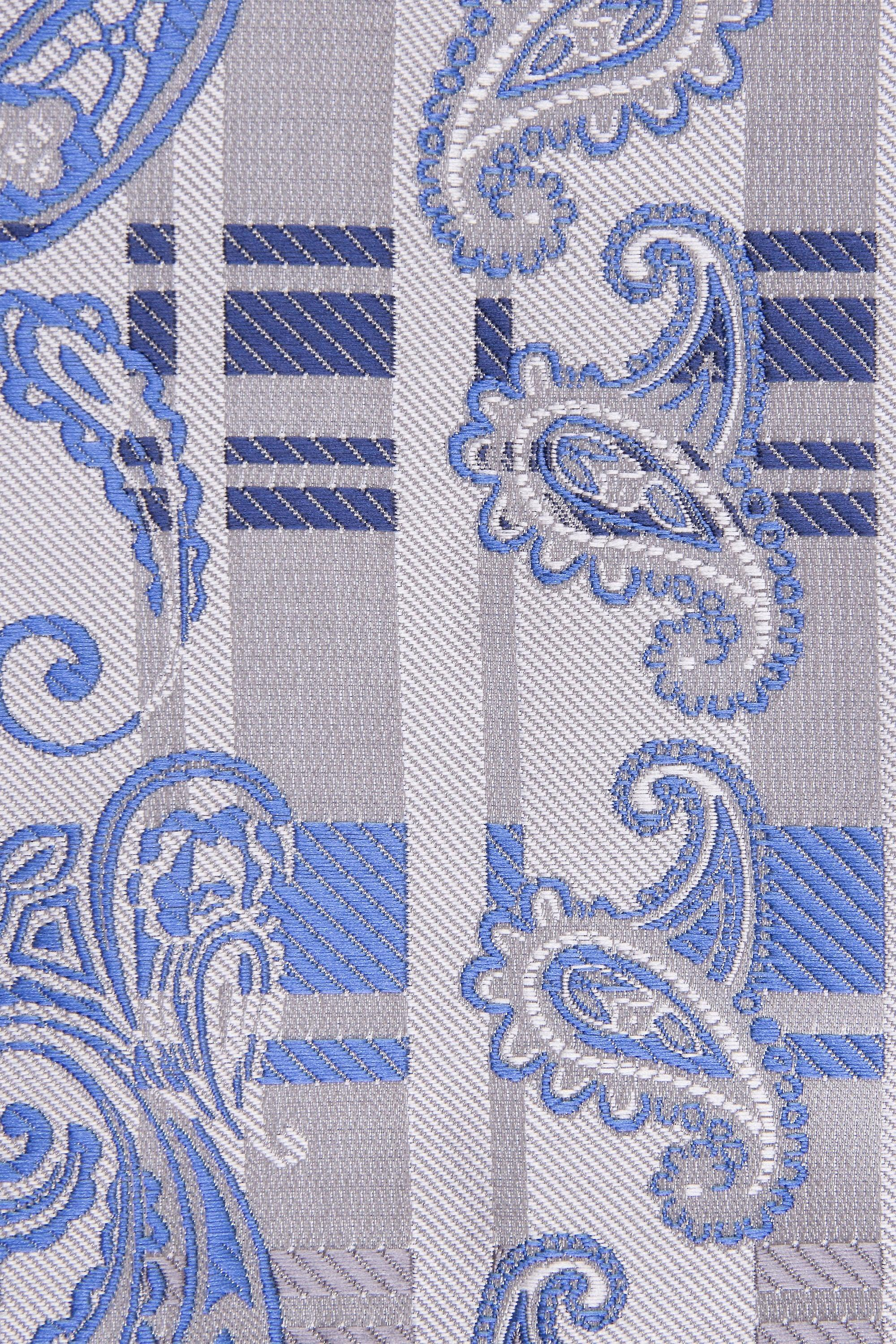 JSS Blue And Silver Paisley Striped Tie And Pocket Square Set