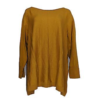 LOGOTIPO por Lori Goldstein Women's Plus Sweater Seaming Detail Brown A307097