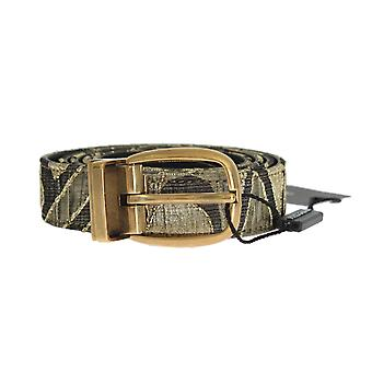 Dolce & Gabbana Gold Jacquard Leather Belt