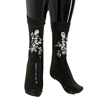 Dolce & Gabbana Black Stretch Floral Clear Crystal Socks