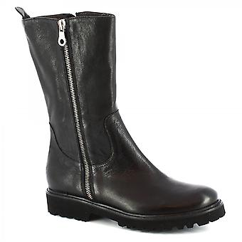 Leonardo Shoes Women's handmade midcalf boots in black calf leather side zip