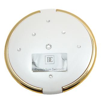 Danielle 8cm Slim Compact with Swarovski Elements 5x Mag Mirror - White