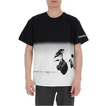 Valentino Tv0mg06j68y99m Hombres's camiseta de algodón blanco/negro