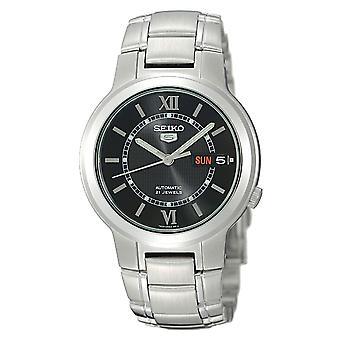 Seiko 5 Preto Automático Dial Prata Aço Inoxidável Men's Relógio SNKA23K1