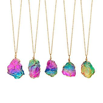 Crystal Necklace-Rainbow with handmade gold details